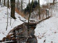 Dresdner Heide, der Eisenhornbach hinter dem Fischhaus im Januar 2013