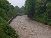Hochwasser Vereinigte Weißeritz am WKW Bienertmühlenwehr Nähe Eiswurmlager in Dresden am 02.06.2013. Blick stadteinwärts