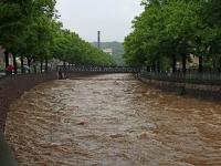 Hochwasser Vereinigte Weißeritz an der Hofmühlenstraße in Dresden am 02.06.2013
