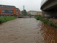 Hochwasser Vereinigte Weißeritz am Wernerplatz in Dresden Löbtau am 02.06.2013